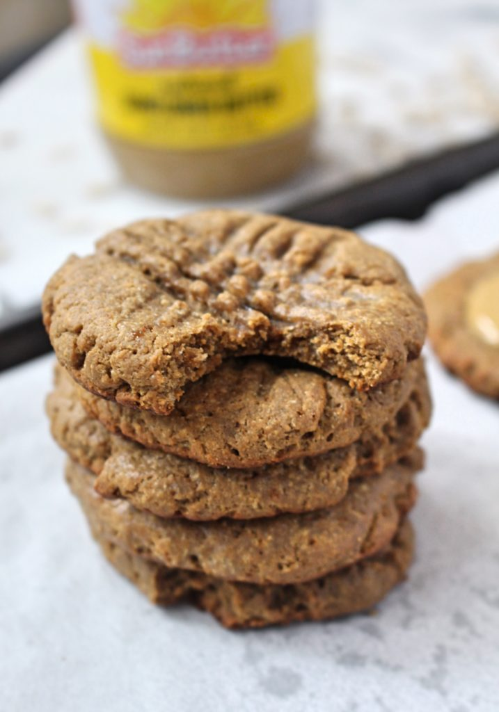 5-Ingredient Coconut Flour SunButter Cookies – Chelsey Amer Nutrition | Chewy and delicious, while high in filling fiber and fat, these 5-Ingredient Coconut Flour SunButter Cookies are exactly what your holiday cookie exchange needs this season! Nut Free, Gluten Free, Grain Free, Dairy Free